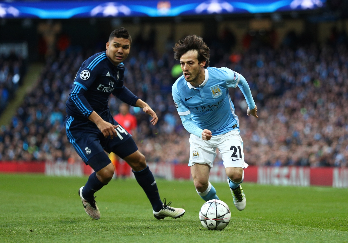 David Silva (right) on the ball