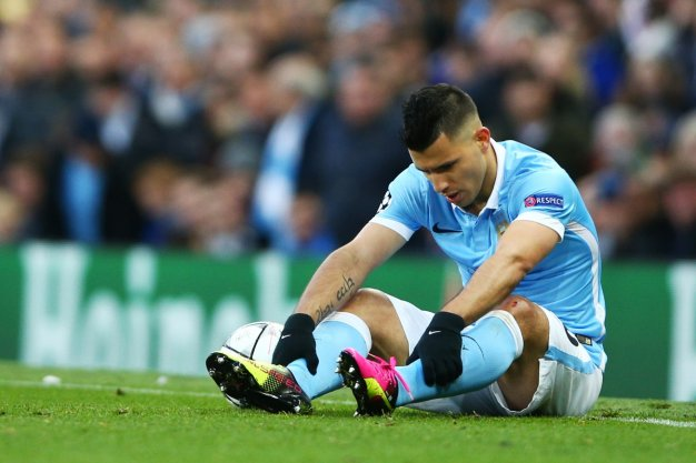 Aguero lies on the floor