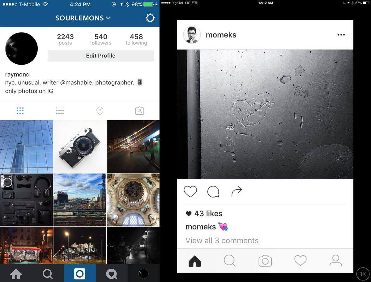 Instagram Screenshots Show New Black And White Design Layout Being Tested