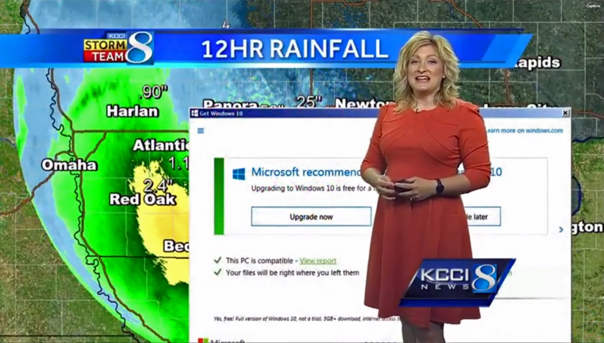 Weather reporter surprised by Windows 10 ad