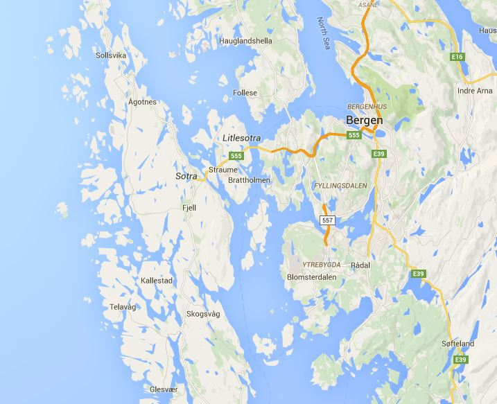 Bergen and Sotra map