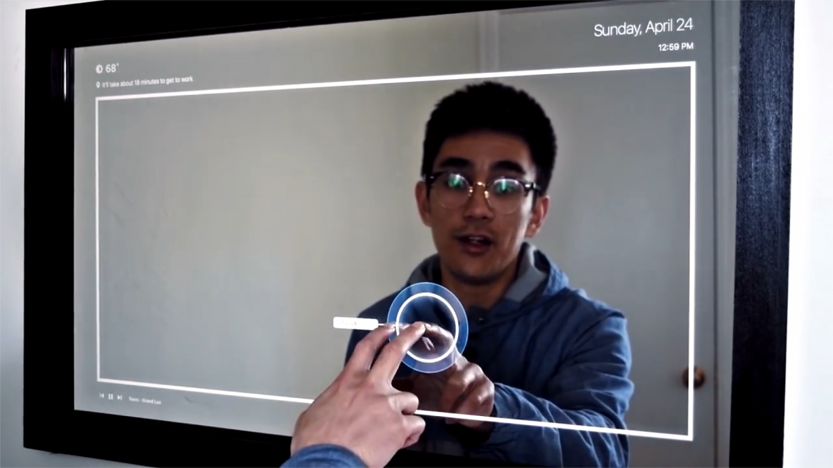 Guy makes a homemade touchscreen mirror that orders Uber rides
