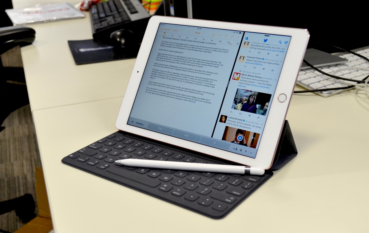 iPad Pro with keyboard and Apple Pencil