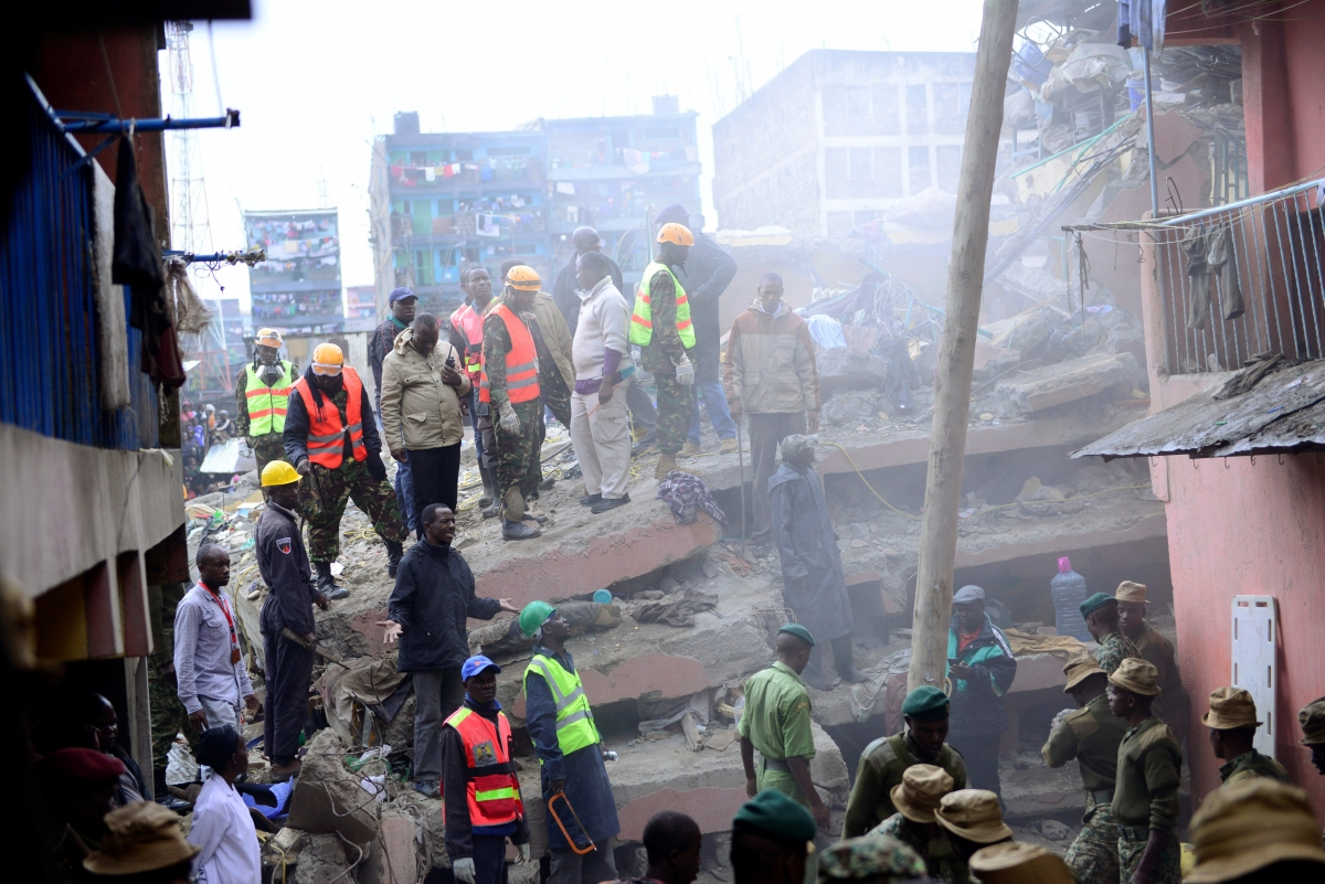 Seven killed as apartment building in Nairobi's Huruma district collapses