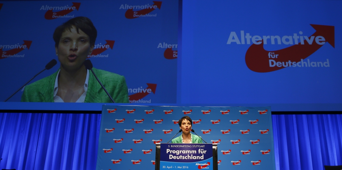 Frauke Petry speaks at the AfD conference