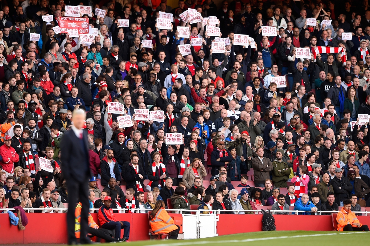 Arsenal fans protest at the Emirates
