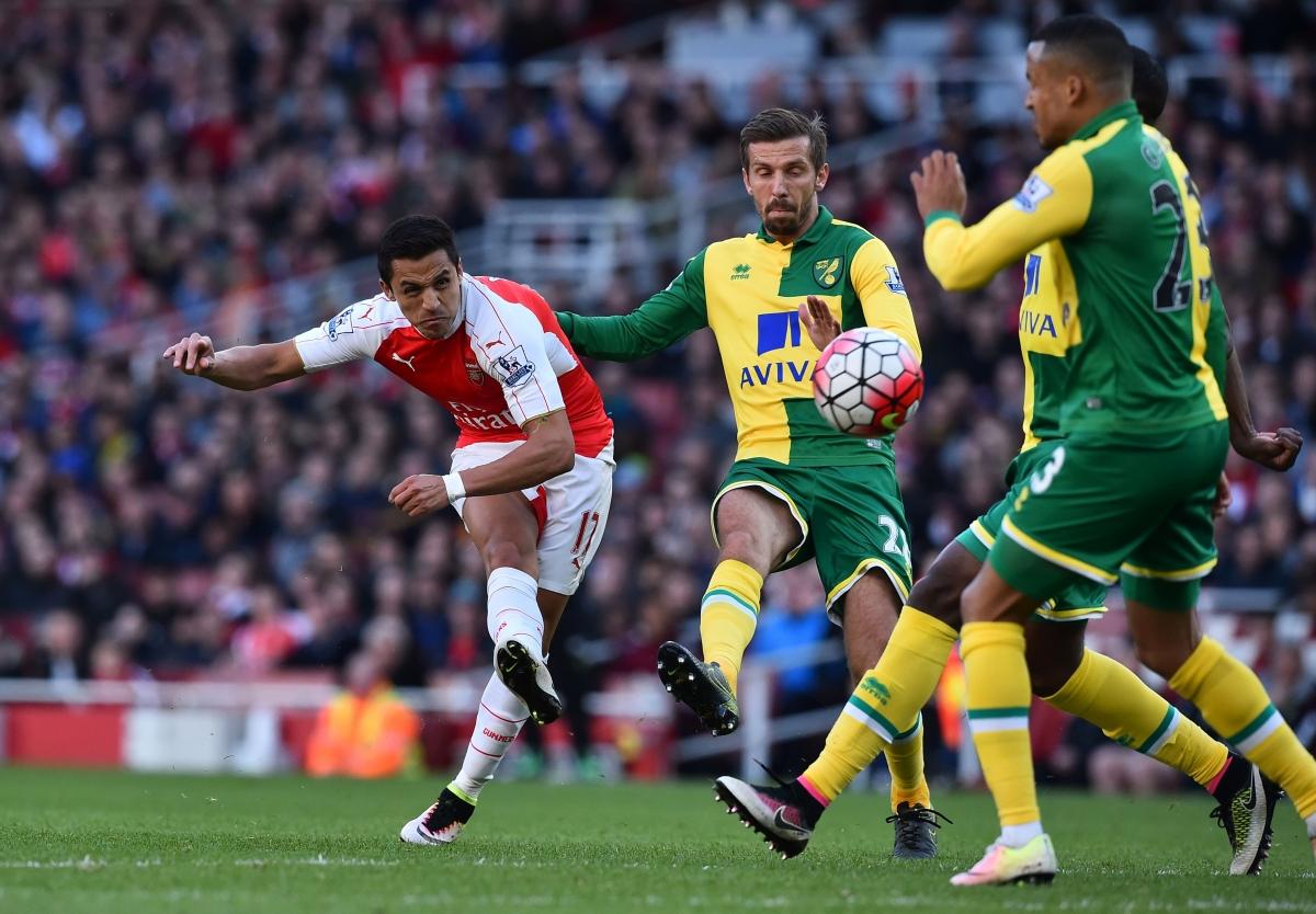 Alexis Sanchez shoots at goal