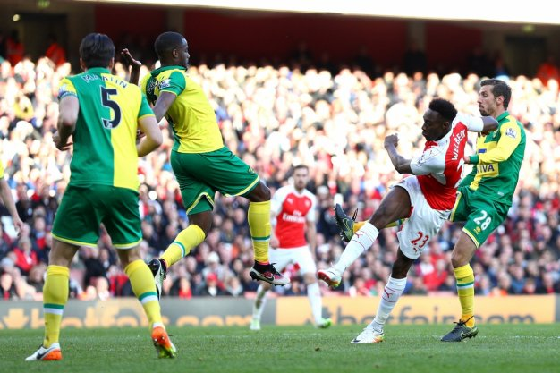 Danny Welbeck scoring the winning goal