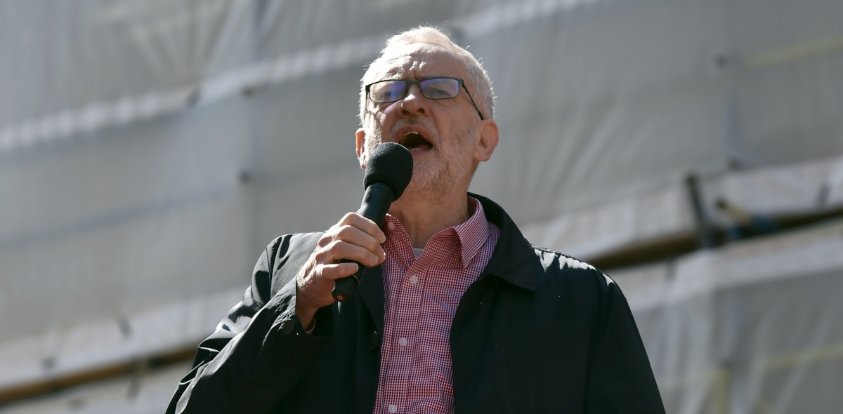 Jeremy Corbyn speaks at a May Day rally in London