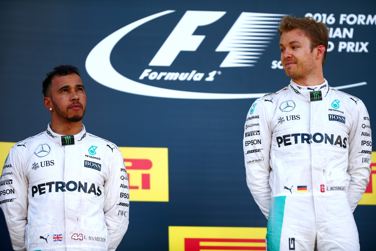 Nico Rosberg (right) beat his teammate again