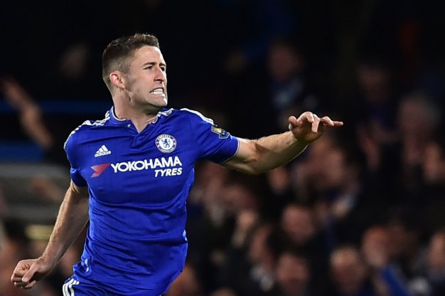 Gary Cahill celebrating his goal