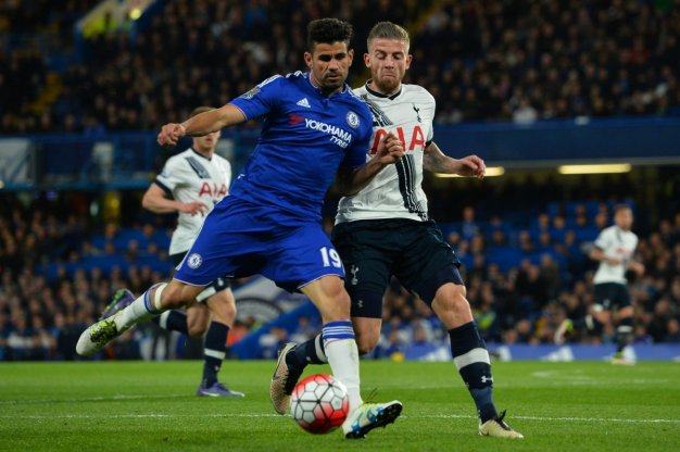 Diego Costa wins the ball