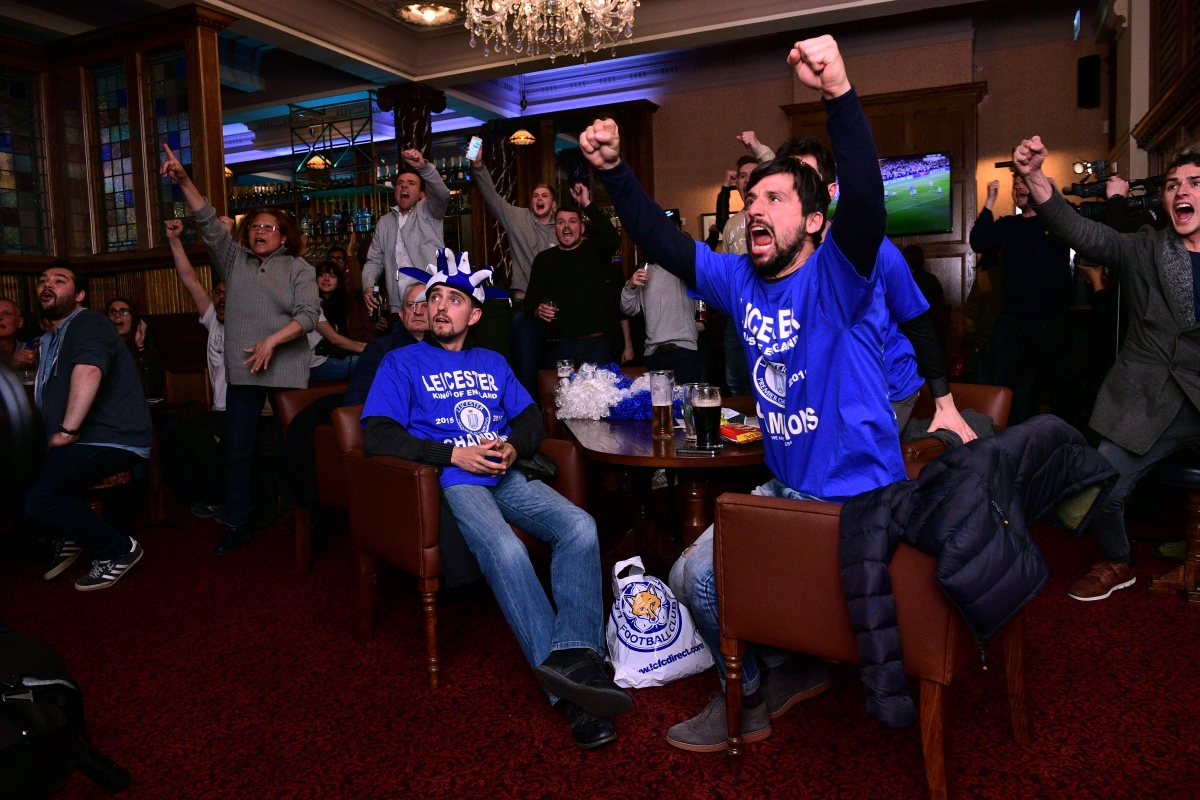 Leicester fans cheer Chelsea's goal