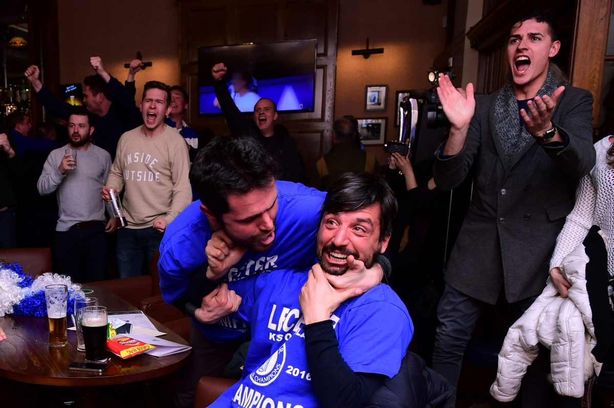 Leicester City fans celebrate their title win