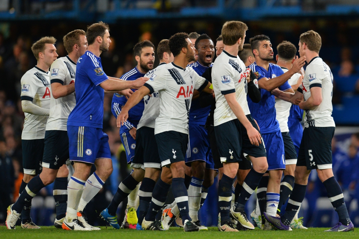 Chelsea and Tottenham players
