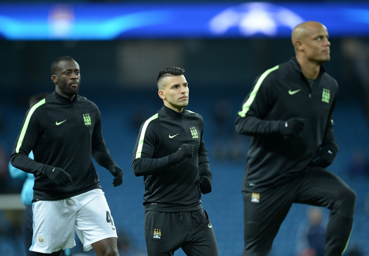 Yaya Toure, Sergio Aguero and Vincent Kompany