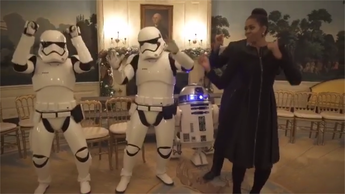 Obamas dance with stormtroopers