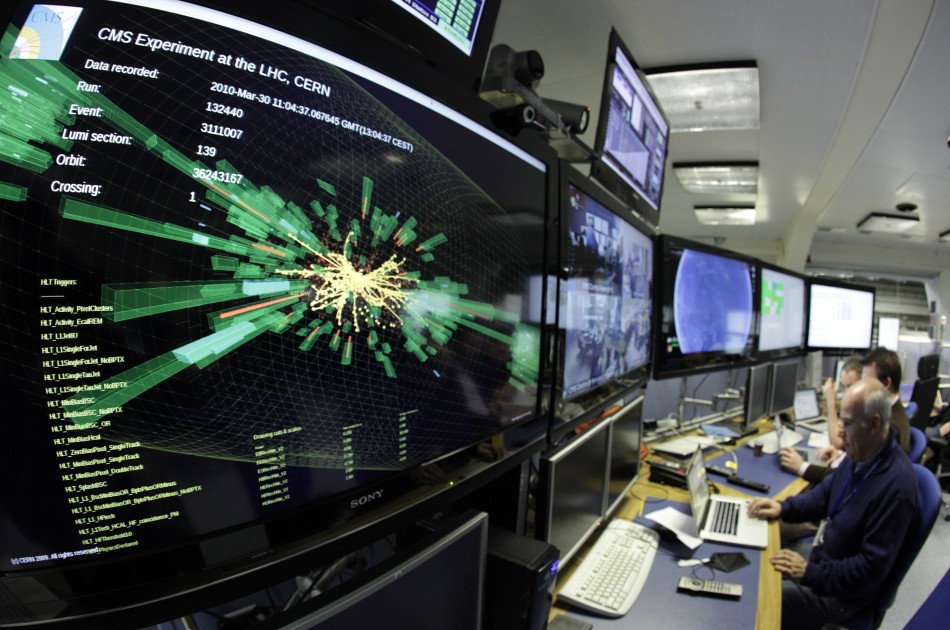 A graphic showing a collision at full power is pictured at the Compact Muon Solenoid (CMS) experience control room of the Large Hadron Collider (LHC) at the European Organisation for Nuclear Research (CERN) in Meyrin, near Geneva March 30, 2010. Scientist