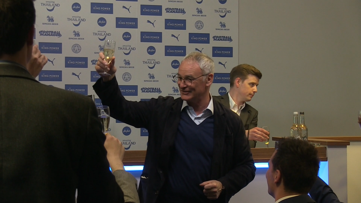 Claudio Ranieri toasts win
