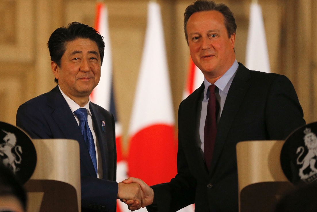 Shinzo Abe and Cameron in Number 10