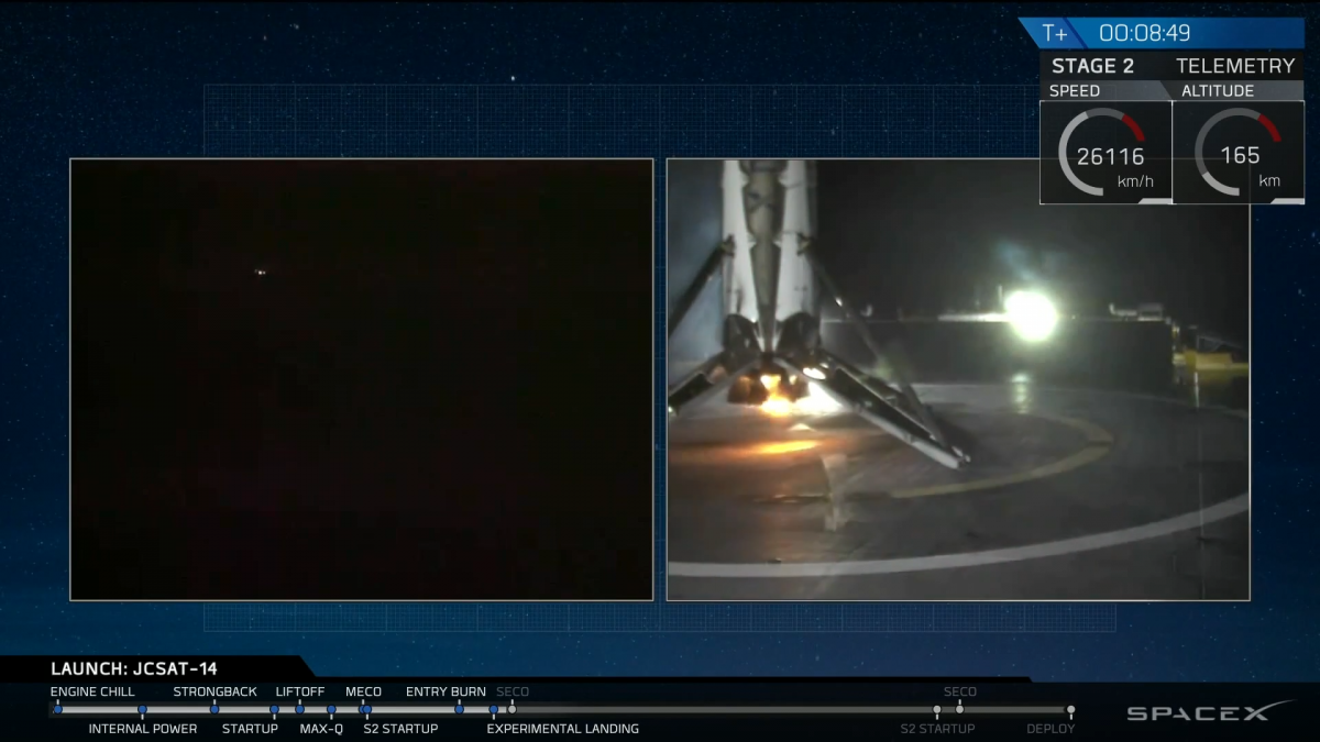 SpaceX rocket lands at sea
