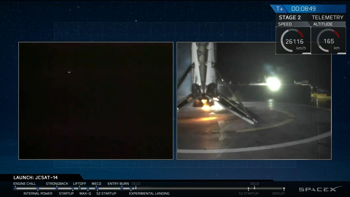 SpaceX rocket lands at sea