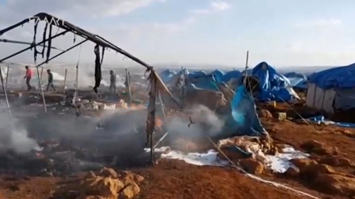 Syria Sarmada refugee camp bombed