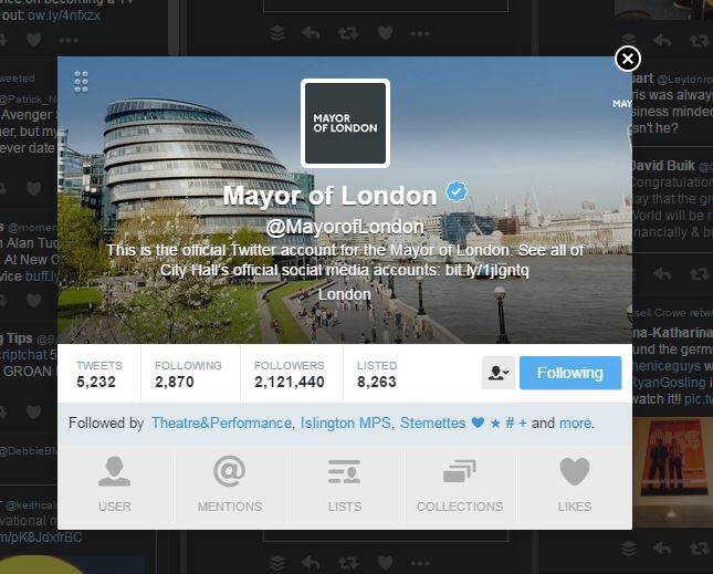 Mayor of London Twitter acccount May 2016