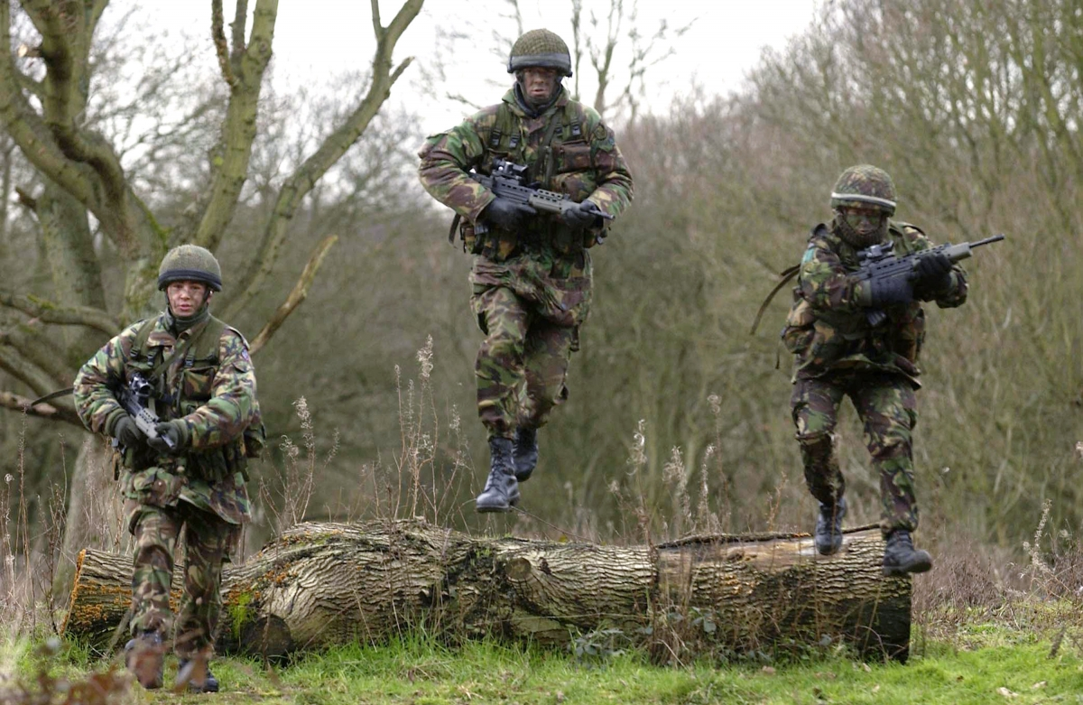 British troops training