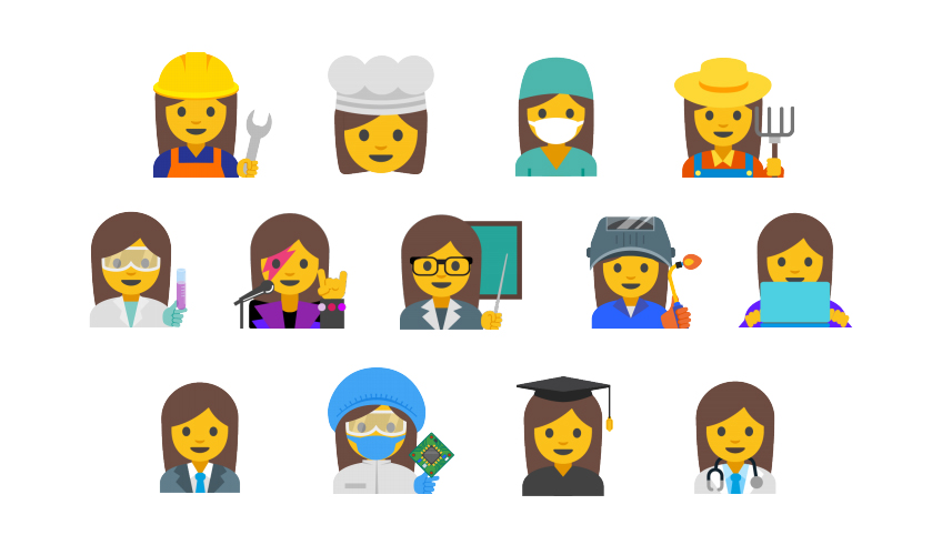 Emojis of women's professions proposed by Google