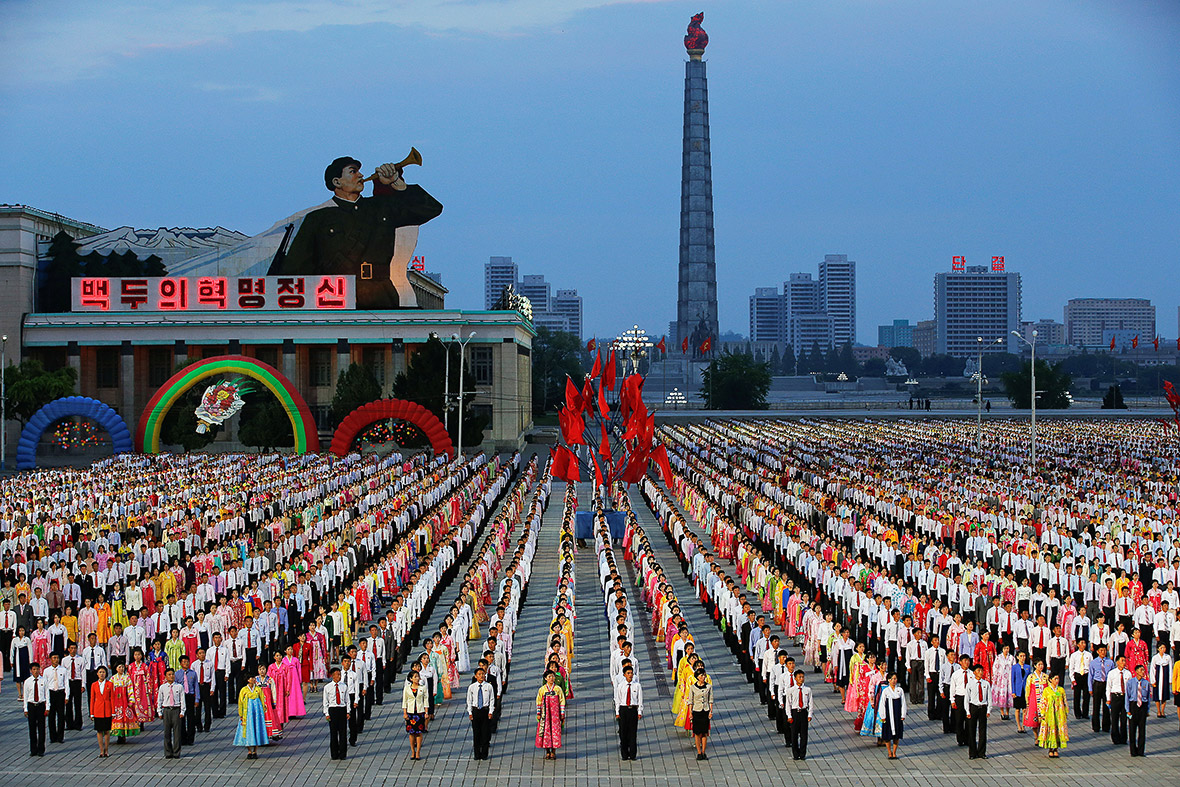 North Korea Stages Mass Dance Rally And Concert For Kim