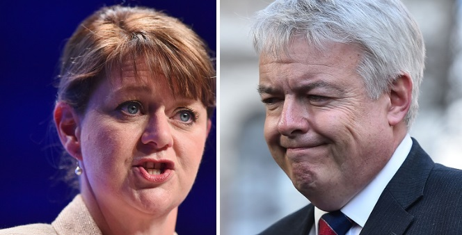 Leanne Wood and Carwyn Jones