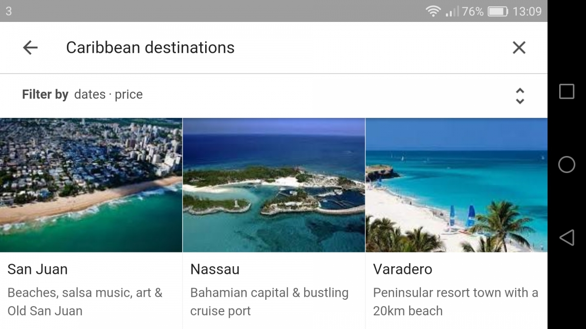 Google Destinations screenshot