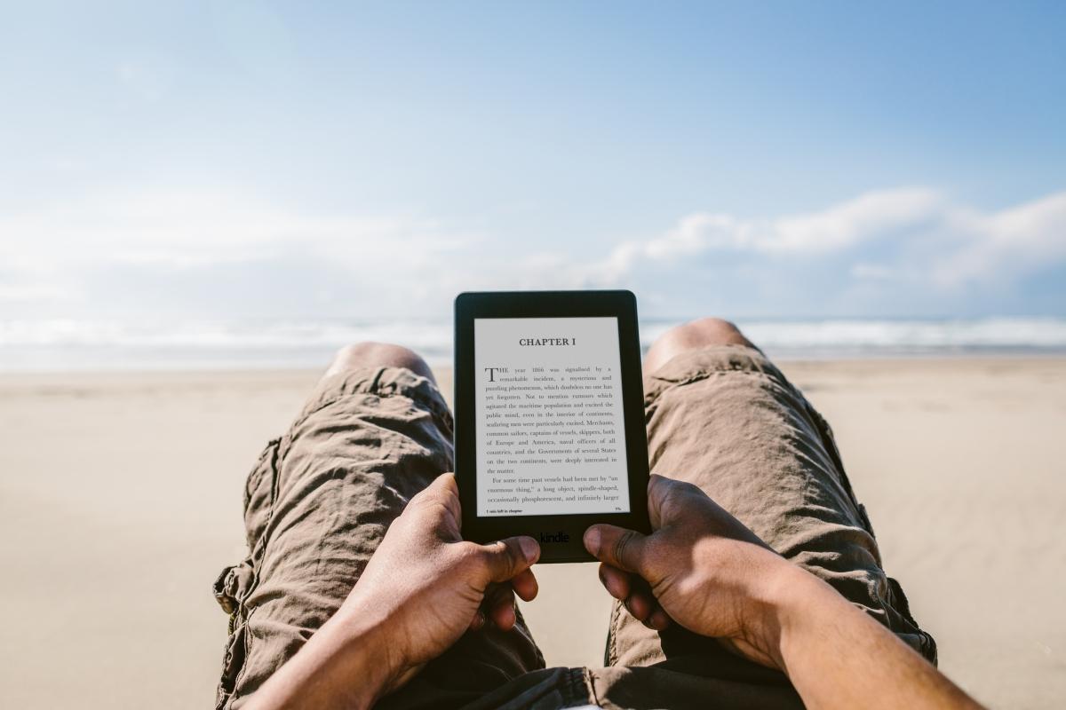 Amazon Kindle Paperwhite on the beach