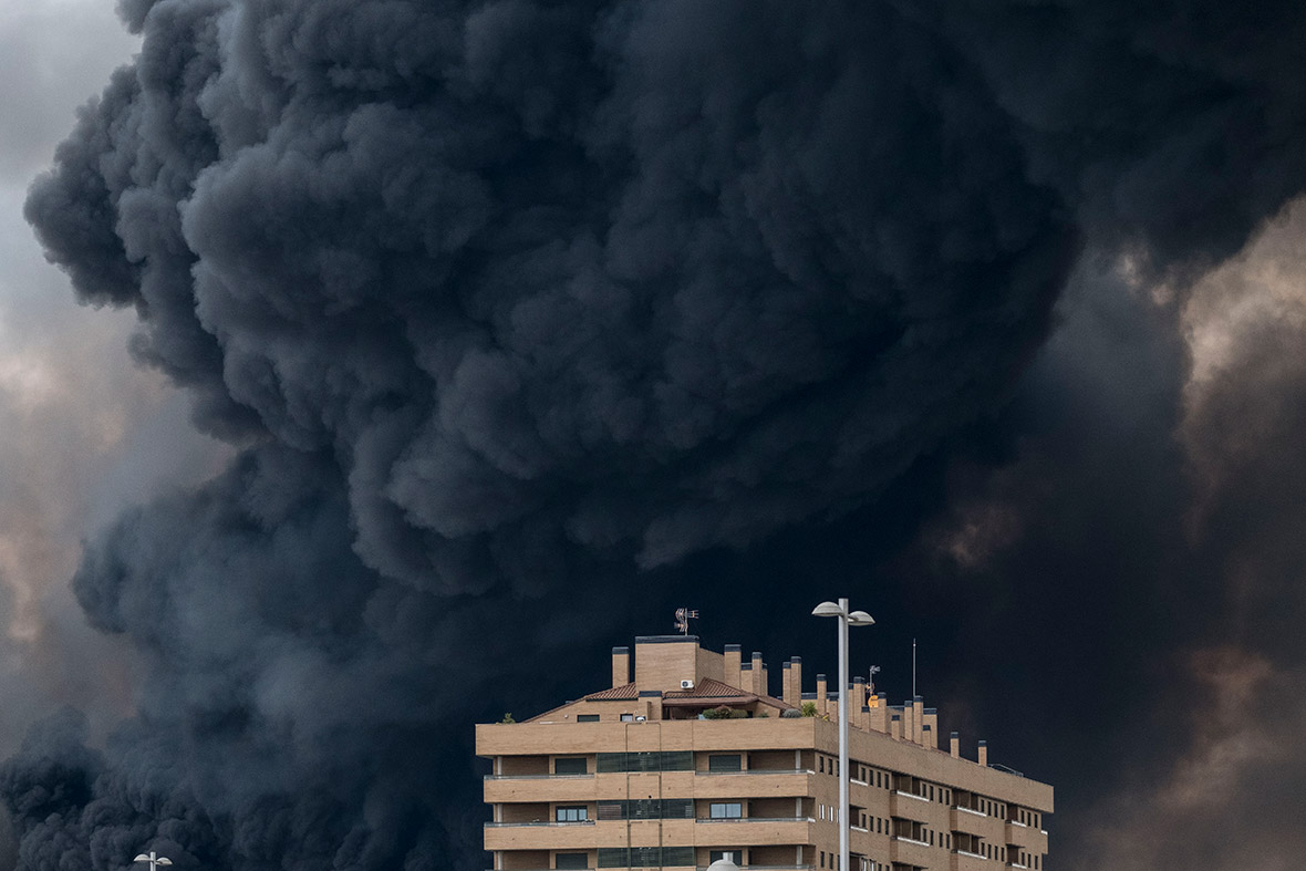 Sesena tyre fire madrid Spain