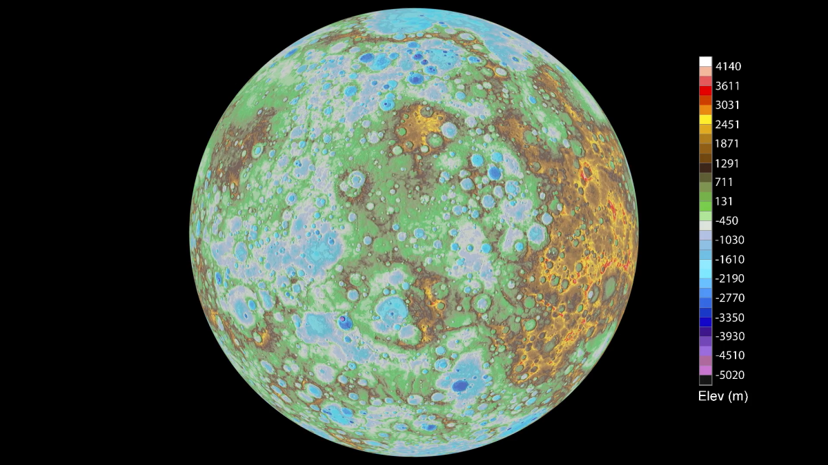 Topographical map of Mercury