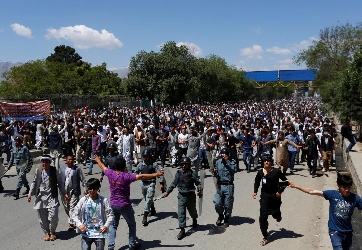 Afghan minority protesters