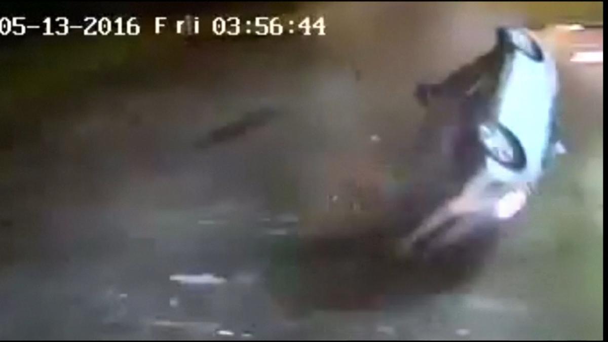 Watch car flip and crash into South Carolina fire station