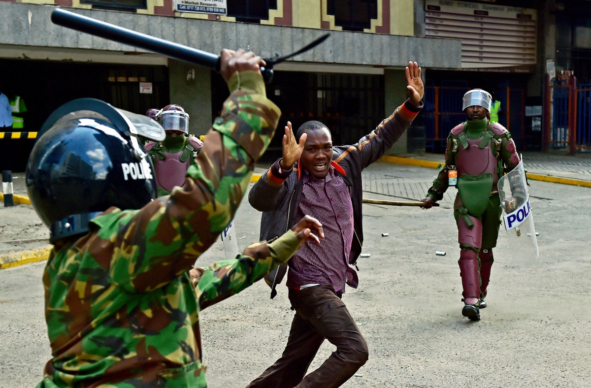 Police raise batons in Kenya