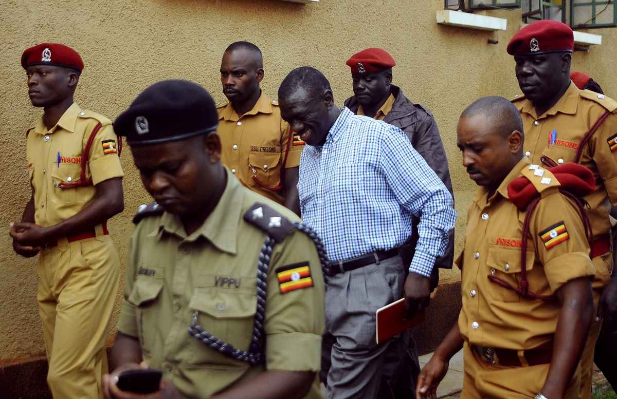 Kizza Besigye arrives in court in Kampala