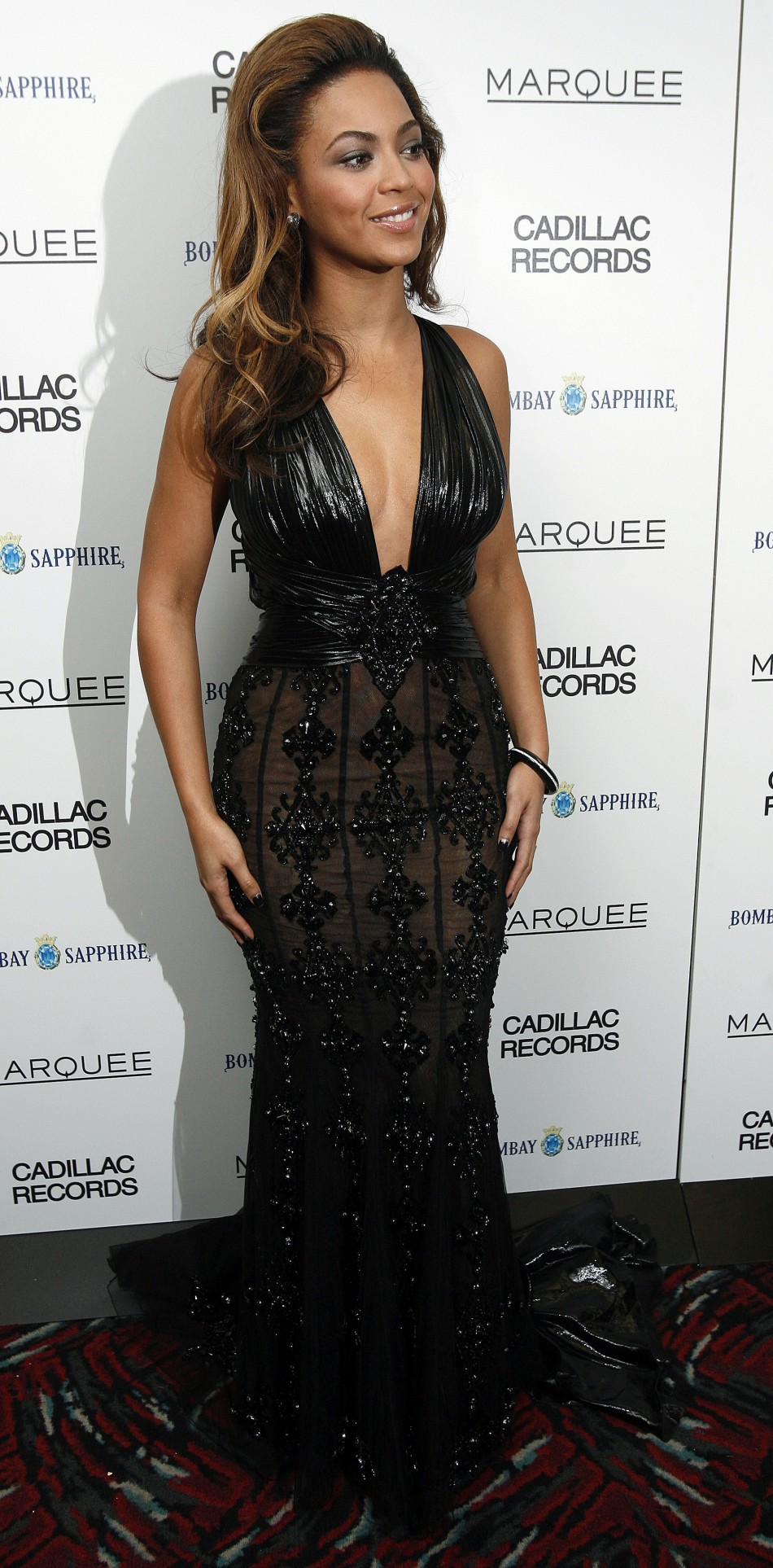 Beyonce looks striking in this black evening gown at the premiere of quotCadillac Recordsquot in New York December 1, 2008.