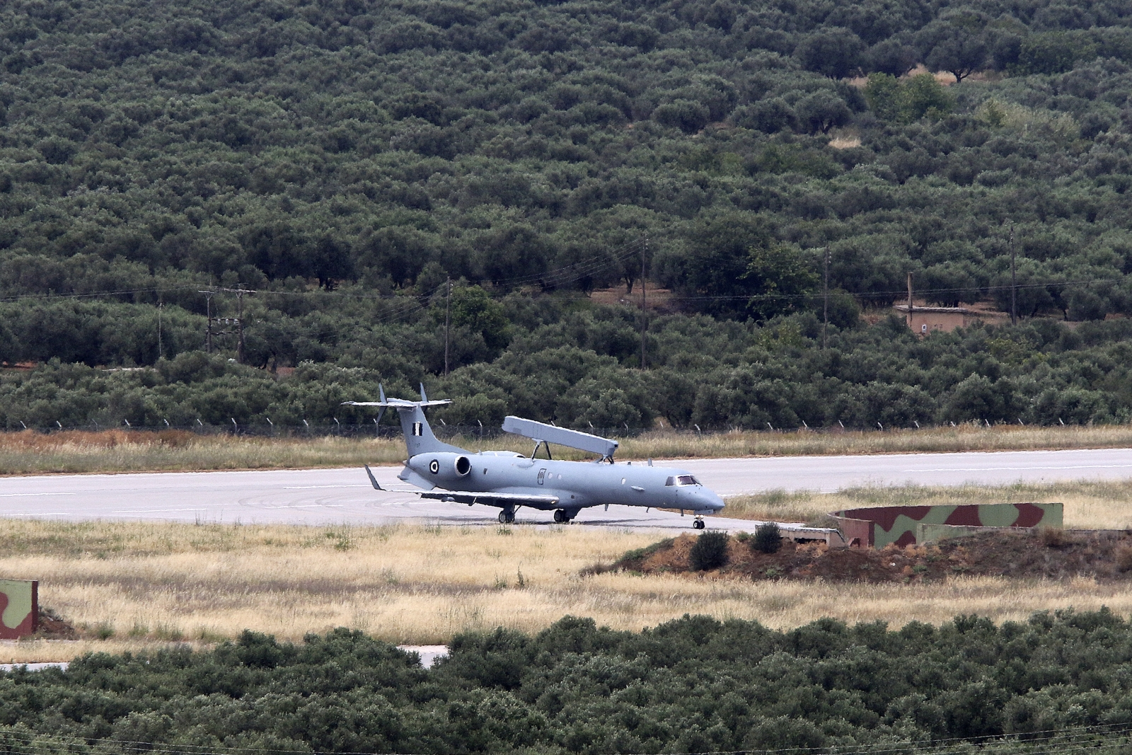 A Hellenic Air Force Erieye EMB-145H AEW&C aircraft