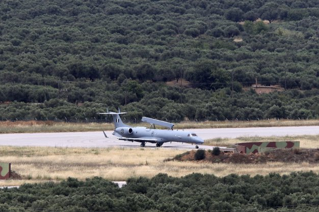 A Hellenic Air Force Erieye EMB-145H AEW&C aircraft