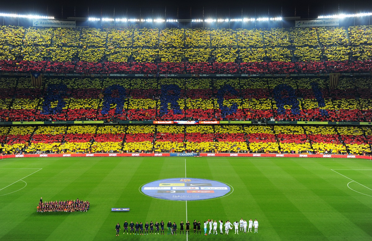 Barcelona fans at the Nou Camp