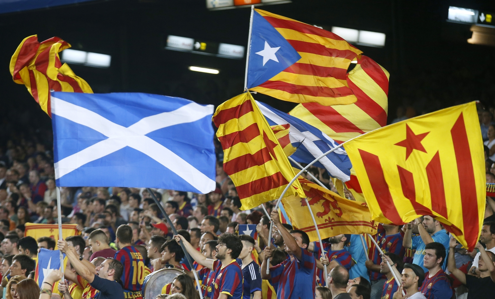 Scottish flag and Catalan flags