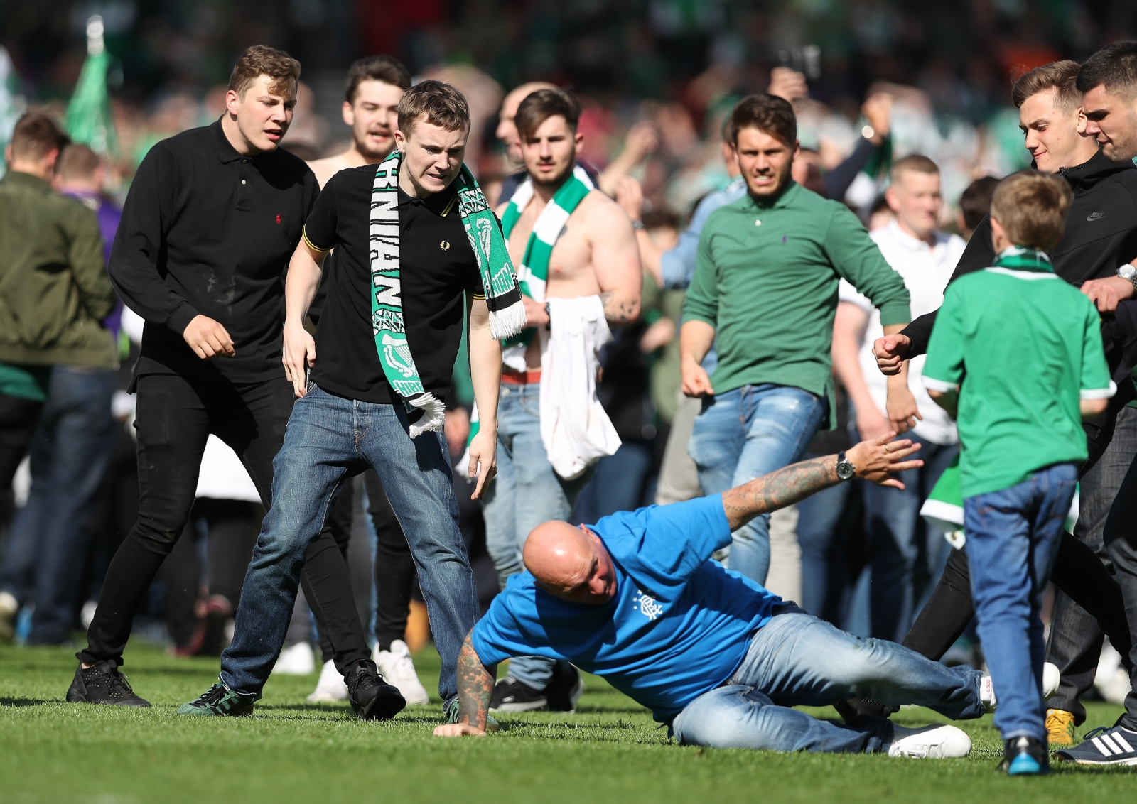 Scottish cup final pitch invasion