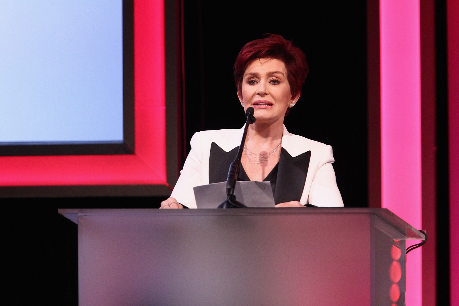Sharon Osbourne speaking at awards ceremony