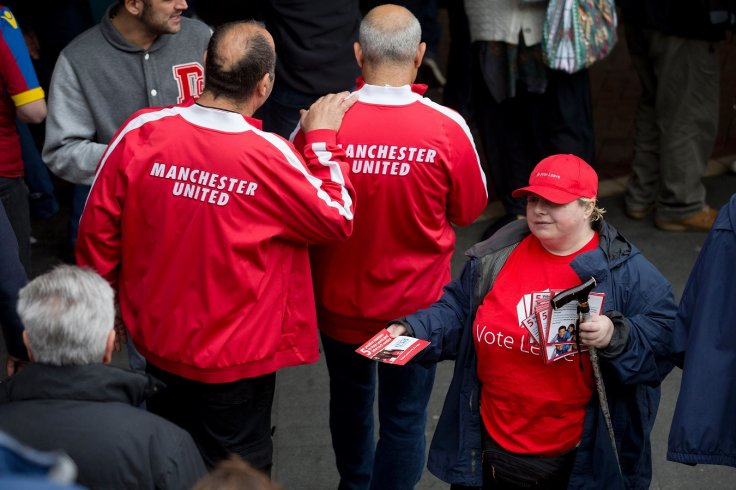 Vote Leave campaigner with Manchester United fan