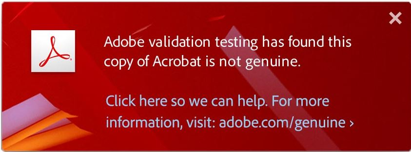 Adobe warns of non-genuine software