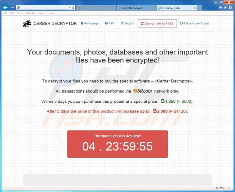 Cerber ransomware hijack screen